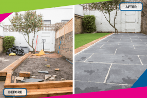 before after of a garden transformation job fantastic services