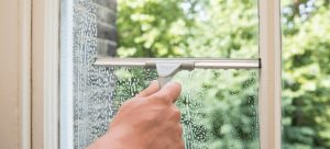 hand cleaning a window