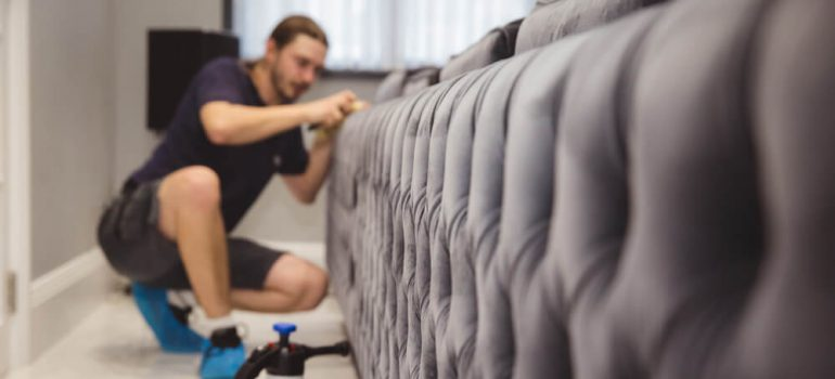 upholstery cleaning technician cleaning polyester sofa