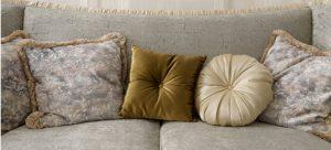 Velvet sofa and cushions