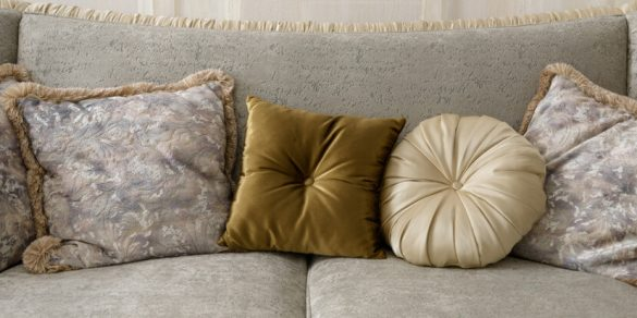 Velvet sofa and cushions