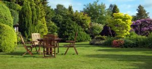 green lawn and garden furniture