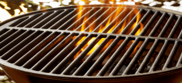 cast iron grill on fire