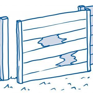 drawing of broken fence