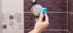 cleaning a shower head