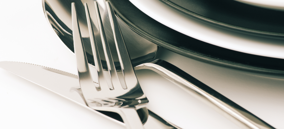 close up of silver fork and knife