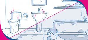 cleaning the bathroom drawing
