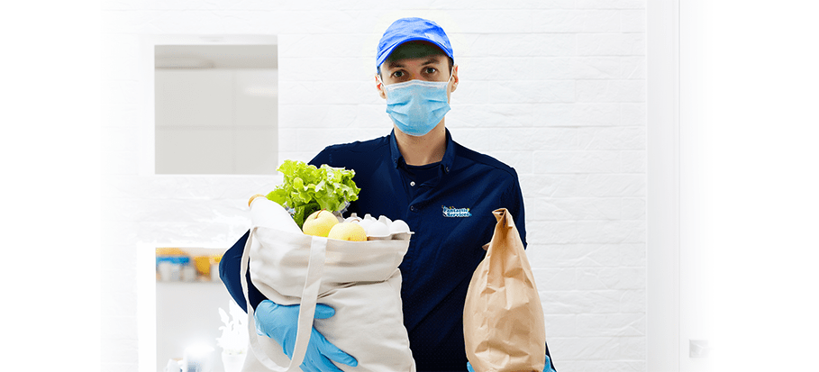 technician holding groceries
