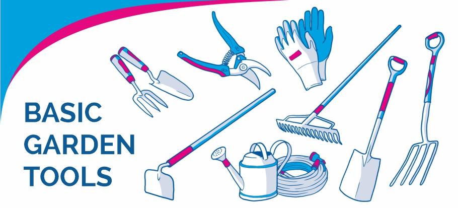 basic gardening tools drawing