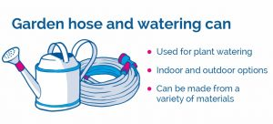 drawing of hose and water can