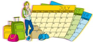 Drawing of girl with large calendar