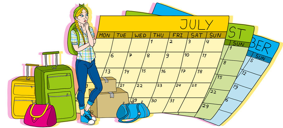 drawing of girl and large calendars