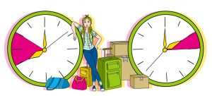 drawing of girl next to large clocks