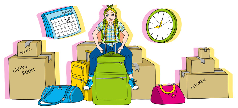 drawing of girl sitting on moving boxes