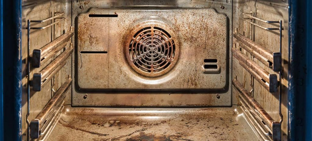 inside of dirty oven