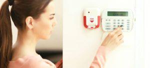 woman setting alarm