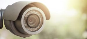 A sun glare on surveillance camera