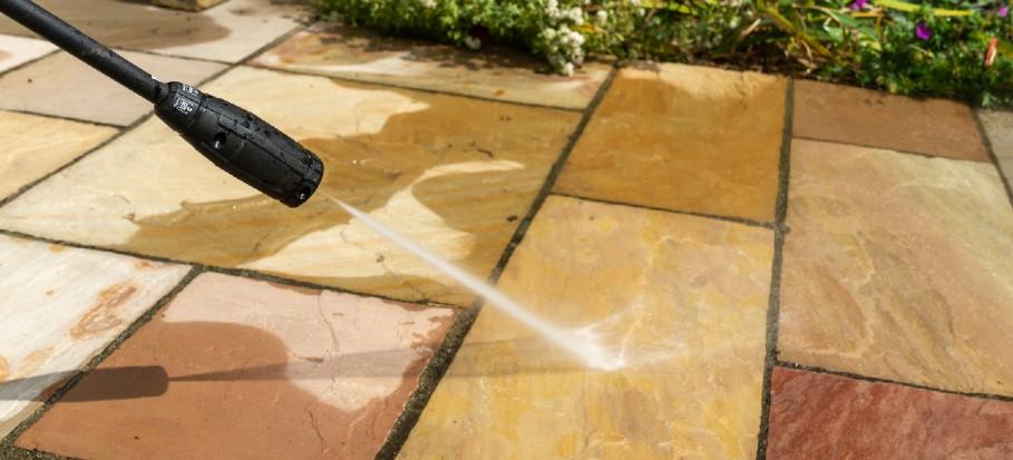 pressure washing garden slabs
