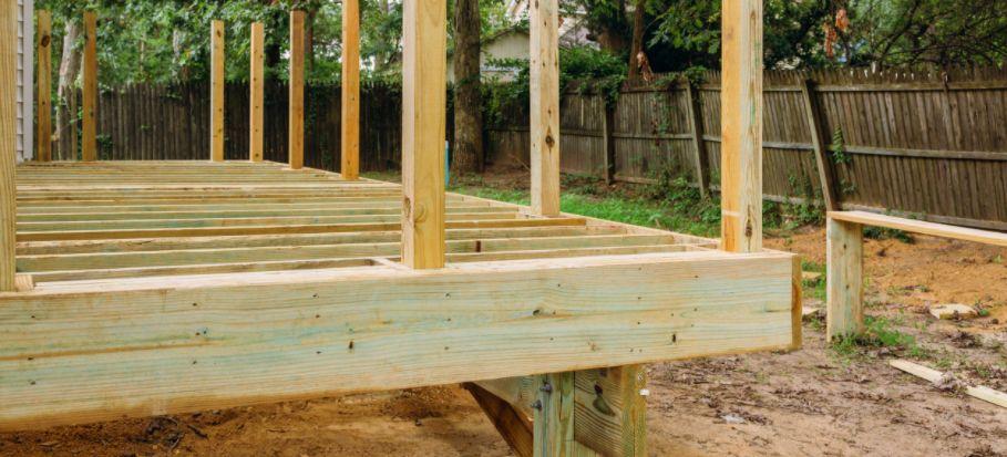 Decking construction poles