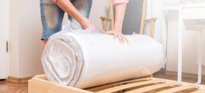 New mattress smell, unrolling and unpacking new mattress.